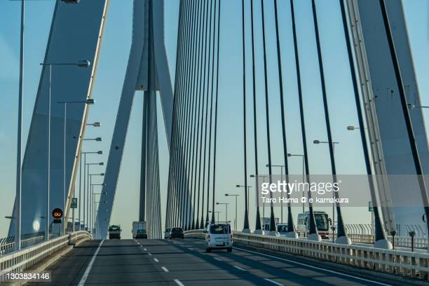 urban highway bridge in yokohama city of japan - clear sky stock pictures, royalty-free photos & images