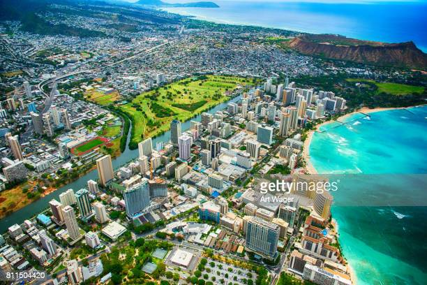 Urban Honolulu Hawaii Wide Angle Aerial