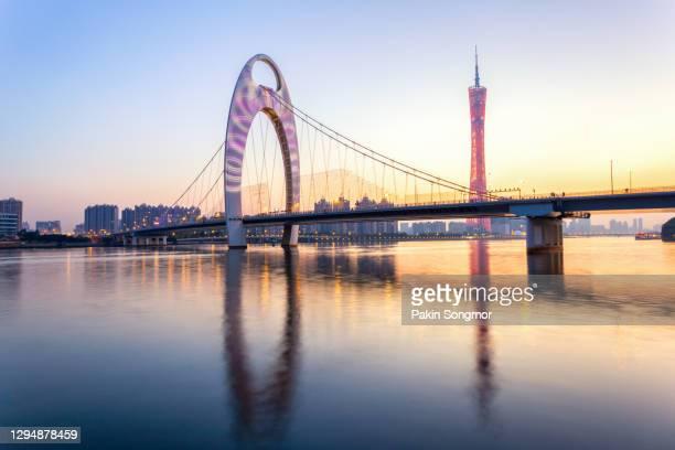 urban landscape of guangzhou city. - bridge built structure stock pictures, royalty-free photos & images