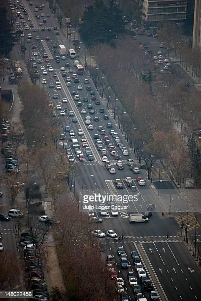 Urban landscape of traffic jam in a Madrid avenue