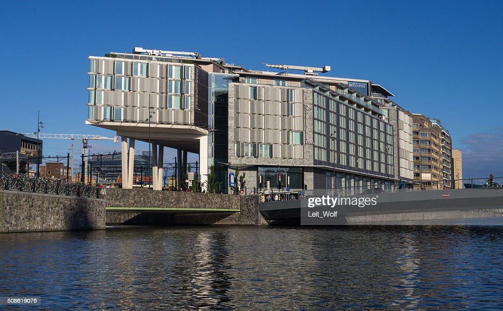 Urban Life, Bridge and Hotel in Amsterdam : Stock Photo