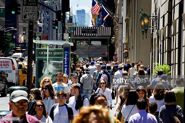 Urban Life, New York City, Pedestrians Walking along 5th Avenue