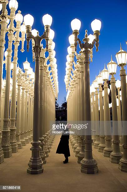 urban light installation at broad contemporary art museum at lacma - los angeles museum of contemporary art stock pictures, royalty-free photos & images