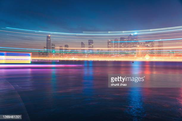 urban light track - light natural phenomenon ストックフォトと画像