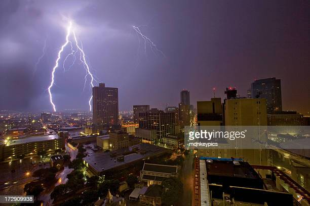 Urban lightening storm in the city