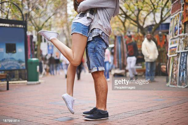 urban love - leg kissing stock photos and pictures