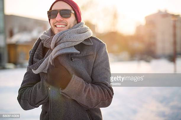 urban man - warm clothing stock pictures, royalty-free photos & images