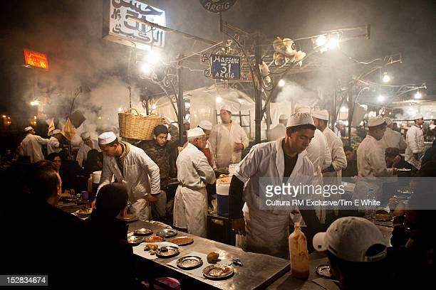 Urban market lit up at night