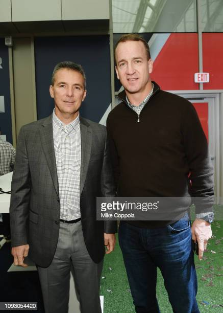 Urban Meyer and Peyton Manning attend Fanatics Super Bowl Party at College Football Hall of Fame on January 5 2019 in Atlanta Georgia