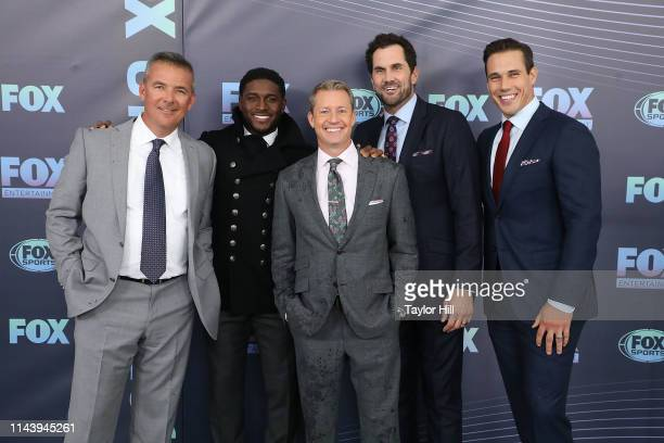 Urban Meyer Reggie Bush Rob Stone Matt Leinart and Brady Quinn attend the 2019 Fox Upfront at Wollman Rink Central Park on May 13 2019 in New York...
