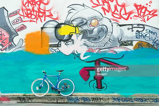 Urban Miami Wynwood Bike Parked by Graffiti Street Art Mural