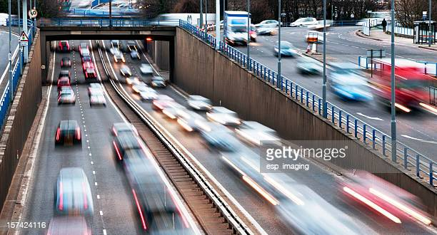 urban motorway rush hour traffic in birmingham - uk stock pictures, royalty-free photos & images
