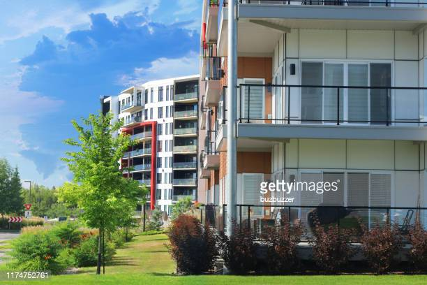 urban multi-condos building blocks - grounds stock pictures, royalty-free photos & images