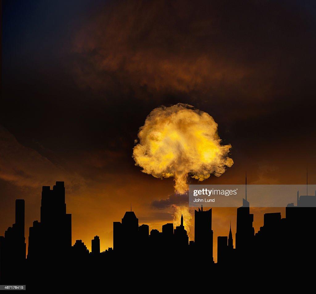 Urban Mushroom Cloud Explosion : Stock Photo