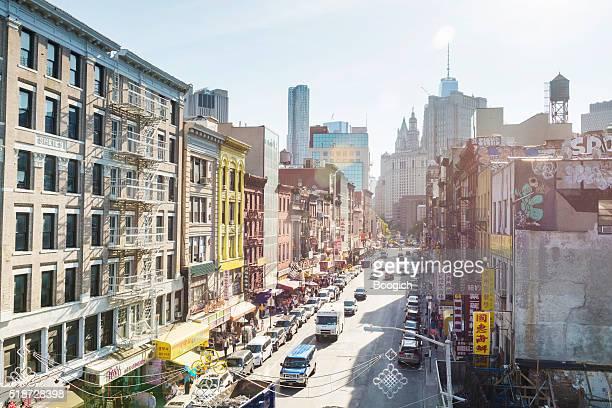 Urbano nuevo York vecindario chino Chinatown calle ciudad con edificios con vista
