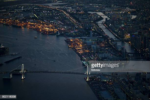 Urban night view as seen from the air
