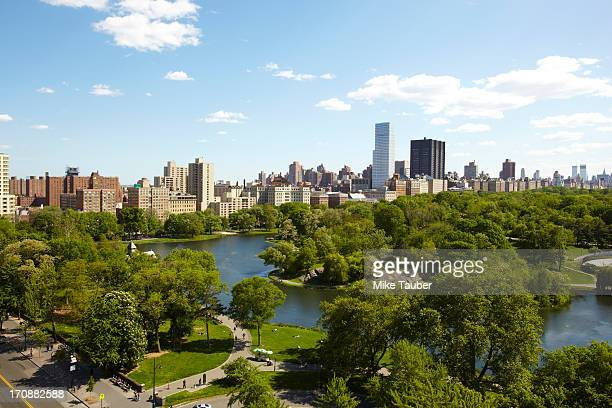 urban park and skyscrapers, new york, new york, united states - harlem stock pictures, royalty-free photos & images