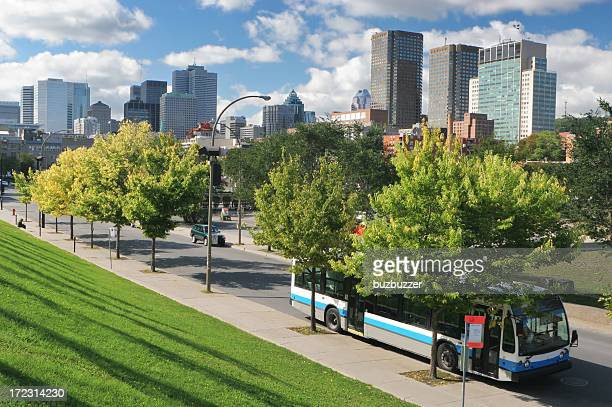 urban public transport bus in montreal - buzbuzzer stock pictures, royalty-free photos & images