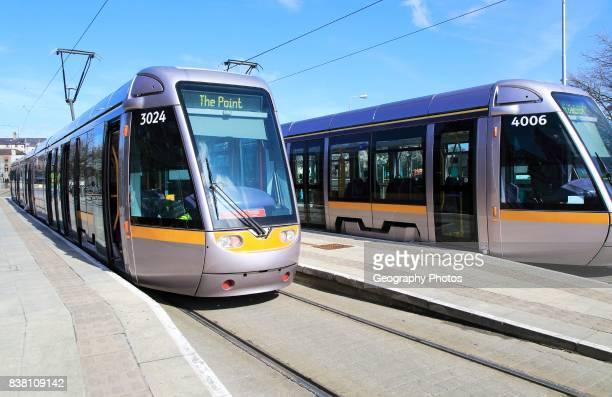 Urban public transport light rail tram system, city of Dublin, Ireland, Irish Republic.