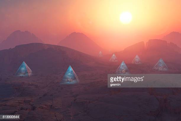 Urban pyramid structures on alien planet