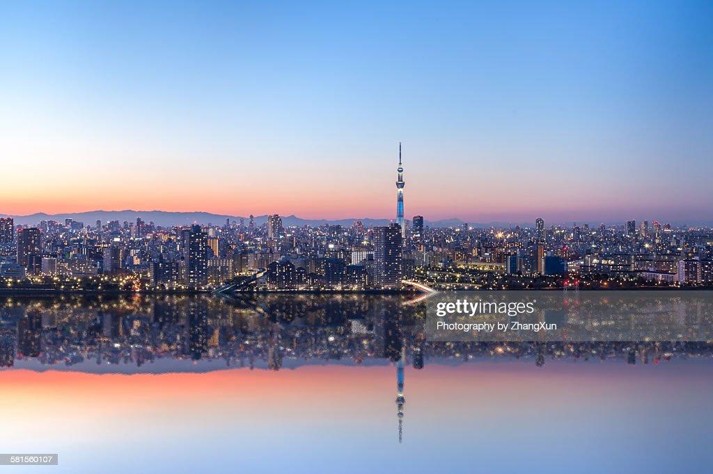 Urban reflection image of Tokyo at night : Stock Photo