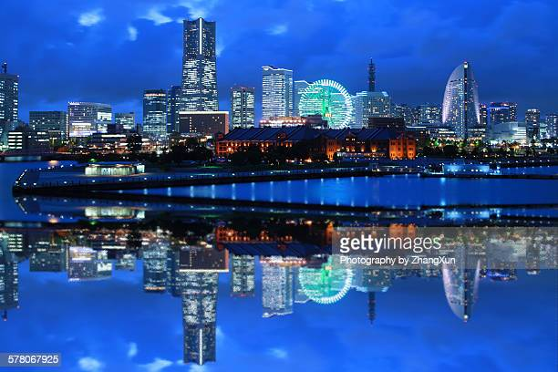 Urban reflection image of Yokohama at night