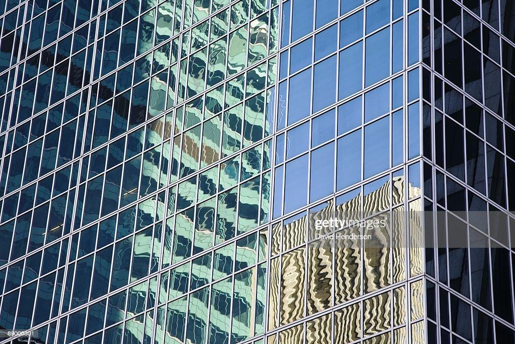 Urban Reflection In Building Windows New York City Stock Foto