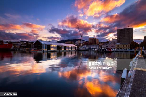 urban reflections - hobart tasmania stock pictures, royalty-free photos & images