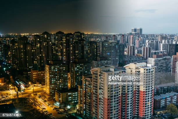 Urban Residential Area, Night to Day