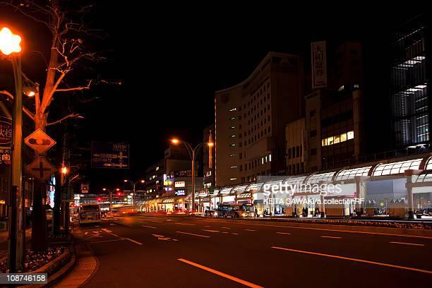 urban road at night - hokuriku region stock photos and pictures