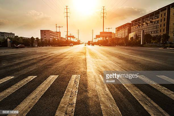 Urban road at sunset
