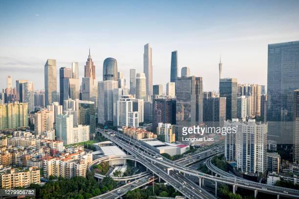 urban roads and skyscrapers - guangzhou stock-fotos und bilder