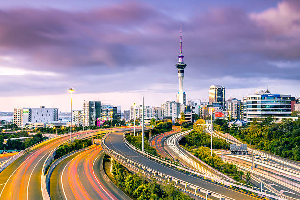Urban Roads With Traffic Leading To Auckland City Wall Art
