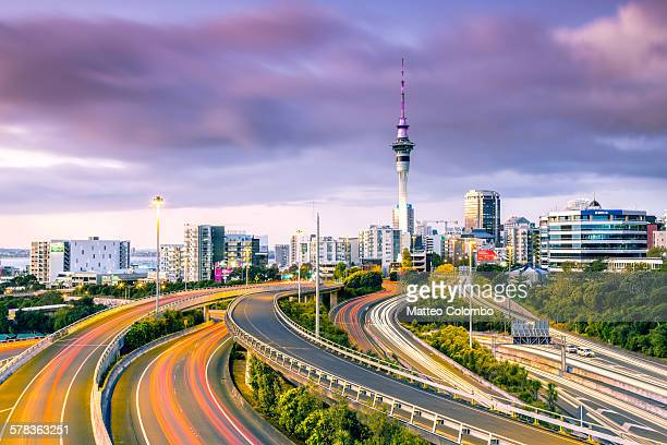 Urban roads with traffic leading to Auckland city