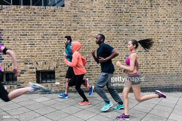 Urban runners excercising in Central London