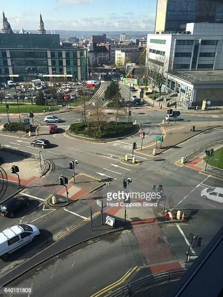 urban scenes from a high angle view - heidi coppock beard stock-fotos und bilder