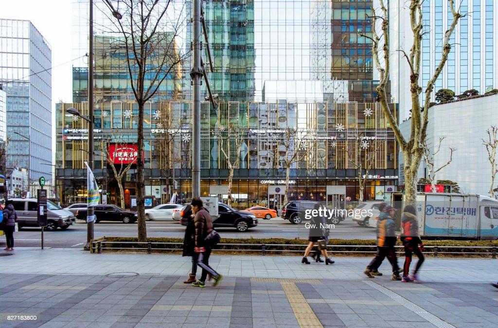 urban sketch around downtown of Seoul : Stock-Foto