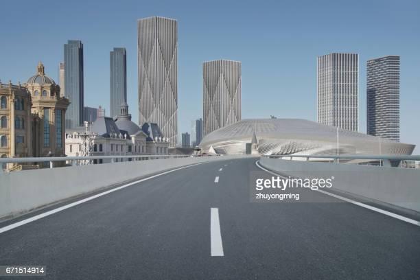 Urban Skyline and pavement