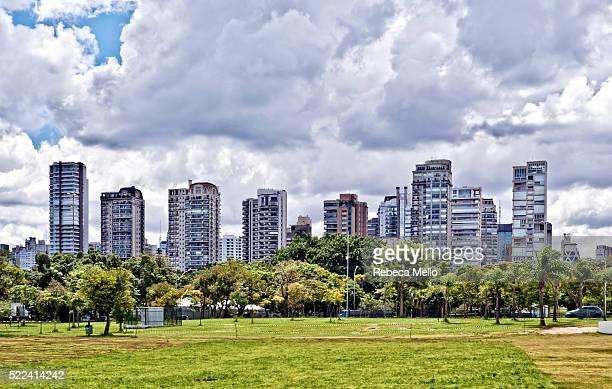 Urban skyline from Ibirapuera Park