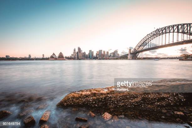 urban skyline in sydney - sydney harbour stock pictures, royalty-free photos & images