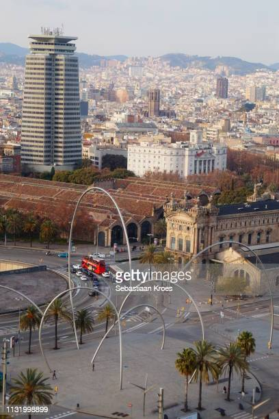 Urban skyline of Barcelona and Ones Sculpture, Spain