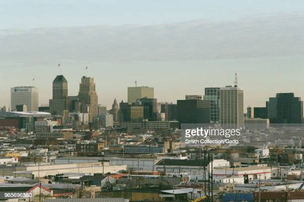 Urban skyline of Newark New Jersey including industrial areas at dawn March 18 2018