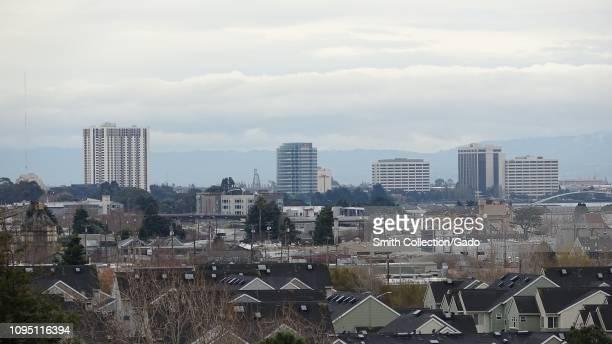 Urban skyline of Oakland California on an overcast day January 8 2019
