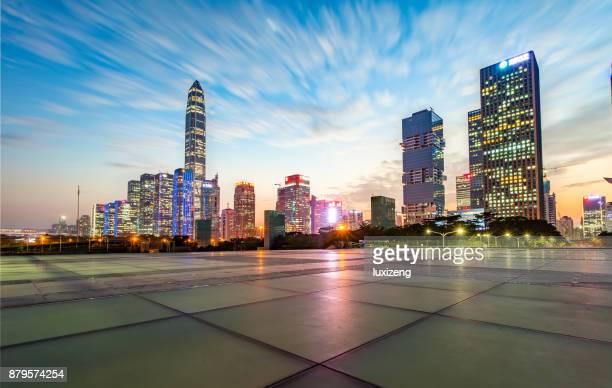 urban skyline of shenzhen - shenzhen stock pictures, royalty-free photos & images