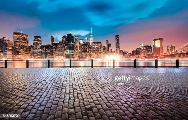 urban skyline,manhattan - paving stone stock pictures, royalty-free photos & images