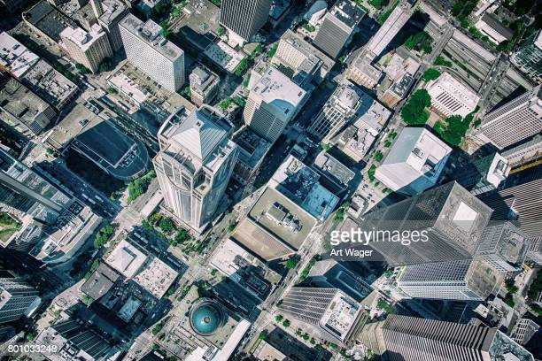 urban skyscrapers from above - high section stock pictures, royalty-free photos & images