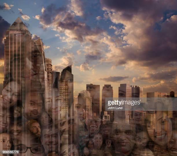 modern cityscape is filled with faces