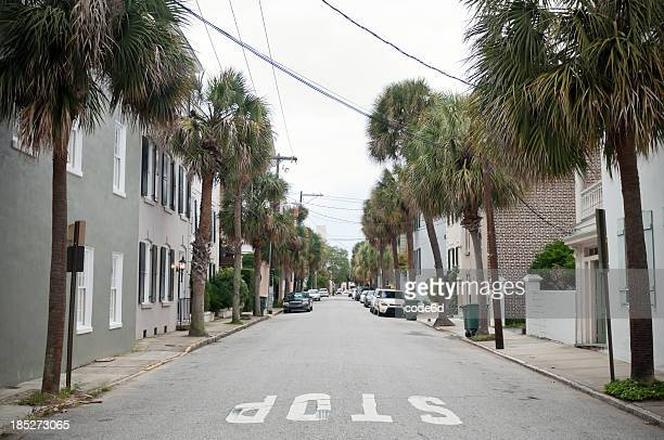 Urban street in the Historic district of Charleston, USA