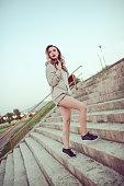 urban street style sensual female running