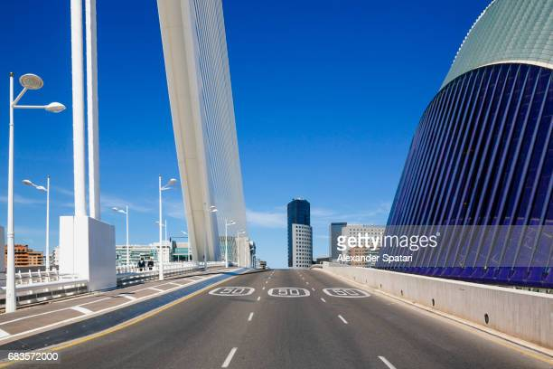 Urban street with modern skyline in Valencia, Spain